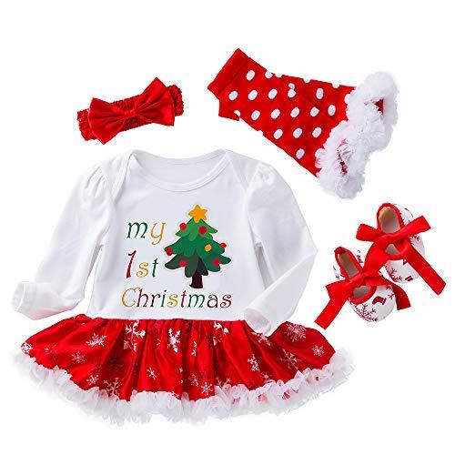 4 stücke Infant Baby Mädchen Strampler Kleider für Halloween Weihnachten Strampler Körper Anzug Outfit Set New Born Mädchen Rock 0-24 Monate (White-Red, 0-3 Monate)