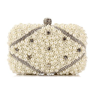Woman Fashion künstlichen Perlen Oxidation von Zirkon Abend Tasche Champagne