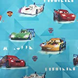 lizenziert von Disney Pixar, türkis Cars Icer Velocity Neuheit Print Premium Grade 100% Baumwolle feines Gewebe Kinder Vorhang Betten Stoff 142cm breit, Meterware,