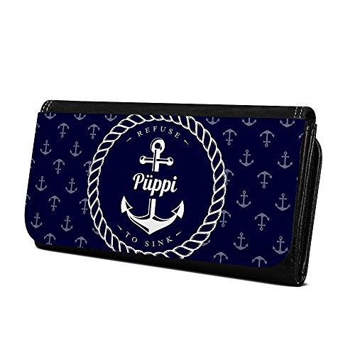 Geldbörse mit Namen Püppi - Design Anker - Brieftasche, Geldbeutel, Portemonnaie, personalisiert für Damen und Herren (Geldbörse-anker Damen)