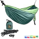 Double Camping Hammock Set - Incl. 2 carabiners and 2 ropes - 118 x 78 in - 600 lbs load . Top Rated Best Quality Lightweight Parachute Nylon 210T Travel Hammock. Great Gift.2 YEAR WARRANTY.