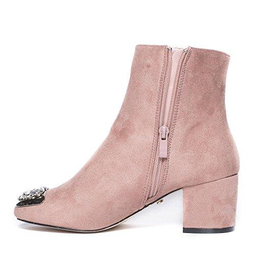 Ideal Shoes Bottines à Talon Carré Effet Daim et Incrustées de Strass Grace Rose