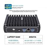 HYSTOU FMP07 6 Ethernet LAN Fanless Pfsense Mini PC Intel Skylake core i3-7100U DDR4 RAM AES-NI linux Firewall Pfsense Router Network Server (8GB RAM 64GB SSD+1TB HDD)