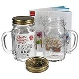 2er Set Trinkglas mit Henkel und Deckel Original Quattro Stagioni Glas 0,415L - inkl. Bormioli Rezeptheft
