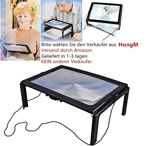 LED Lupen 3X Tischlupe mit Licht A4 Leselupen für Senioren Groß Rechteckiges Standlupe mit Klappständer Lesehilfen zum Lesen Büchern, Magazinen, Zeitungen, Landkarten