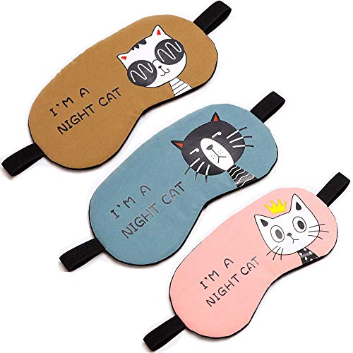 HappyDaily Schöne und Bequeme Schlafmasken - Set mit 3 Stück, Hotpink/pink/weiß Night Cat - Pink/Blue/Coffee