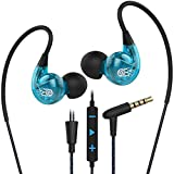 Sport Running Gym Earphones, Bluebare Langsdom SP90 Jogging Headphones with Mic & Volume Control In Ear Earbuds Headphone Compatible with all 3.5mm Jack (Blue)