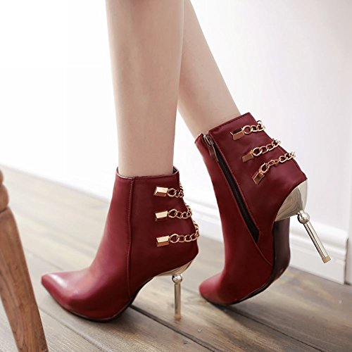 Mee Shoes Damen Stiletto Reißverschluss spitz Ankle Boots Rot