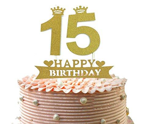 zum 15. Geburtstag und Partyzubehör, 12,2 cm lang, goldfarben ()