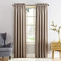 "Sun Zero Barrow Energy Efficient Rod Pocket Curtain Panel, 54"" x 95"", Stone Beige"