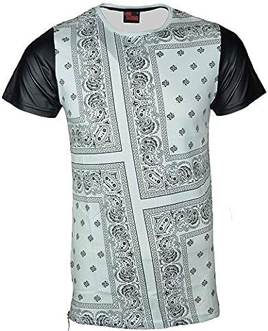 Mens Designer Bandana Print T Shirt Short Imitation Leather Sleeves Plain Back (Large, White)