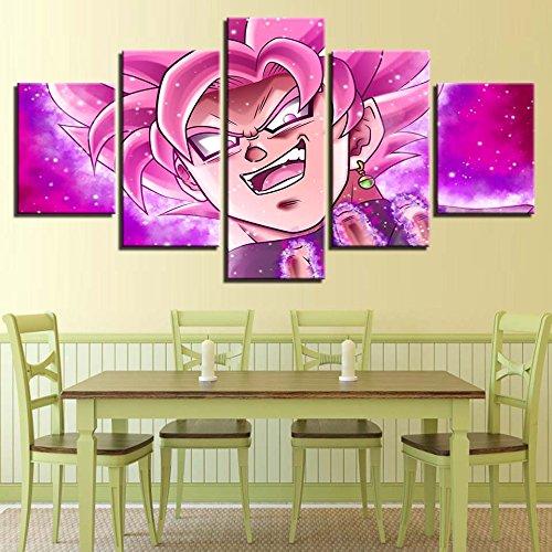 Painting Art Bastidor de Arte Mural Decoración Habitación 5 Pedazos de Anime Dragones Siete Caracteres Bola Imágenes HD Modular Moderno Póster Impreso Pintura en Tela,Tamaño Grande