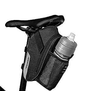 51maMNghBdL. SS300 Roswheel Borsa della Sella per Bicicletta Impermeabile Sacchetto Posteriore Telaio da Bici Sedile con Tasca Porta-Borraccia per Ciclismo/MTB/Bici