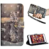 Edauto Motorola One (P30 Play) Hülle Leder Handyhülle Schutzhülle Flip Case 3D Gemalt Tasche PU Wallet Handytasche Bookstyle Ständer Kartensätze Magnetisch Brieftasche Katzenreflexionstiger