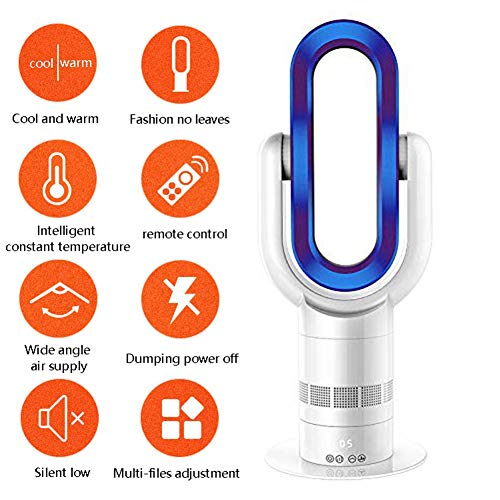 B&H-ERX Extrem leiser, blattloser, elektrischer Lüfter Blattloser Lüfter Lüfter für warme und kalte Luft Klimaanlage Ferngesteuerter Tower-Lüfter 360 Grad,Blue