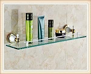 Single YIT Glasregal für das Badezimmer mit zwei weißen + Gold Halteklammern Eckregalbrett aus Glasablage montiert aus Messing
