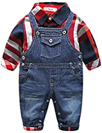 Fanryn 2-Teiliges Babykleidungs-Set Babyanzug Jungen Kleider Coat Kleidung Kariertes Hemd Spielanzug mit Fliege + Hose Bekleidungsset Kleidung Gentleman Anzug mit Ärmeln Herbst Kleidung Des(0-24M)