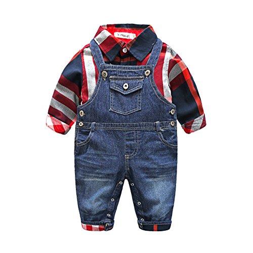 Blau Gestreifte Tote (Fanryn 2-teiliges Babykleidungs-Set Babyanzug Jungen Kleider Coat Kleidung kariertes Hemd spielanzug + Jeans Bekleidungsset Kleidung Gentleman Anzug mit Ärmeln Herbst Kleidung des(0-24M))