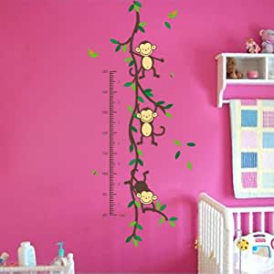 Monkey Forest Removable Wall Decal Stickers Kids Height Chart Measure