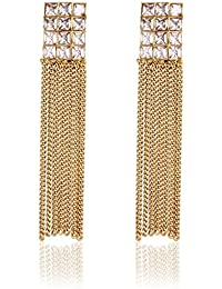 Crunchy Fashion Stylish Party Wear Gold Plated AD Studded Long Tassel Earrings For Girls &Women