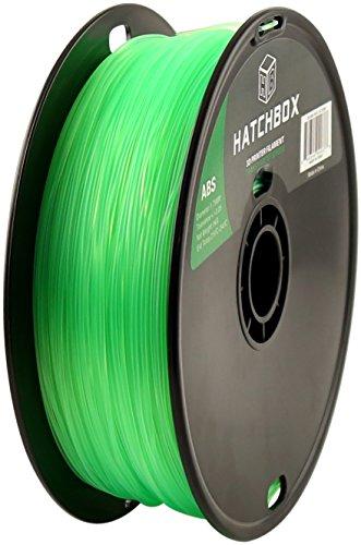 Preisvergleich Produktbild HATCHBOX 1,75 mm transparent grünes ABS-Filament für 3D-Drucker - 1 kg-Spule - Maßgenauigkeit +/- 0,05 mm