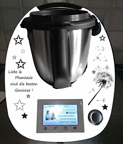 Aufkleber passend für Thermomix TM 5 Pusteblume Spruch schwarze - Fünf-sterne-küchenmaschine