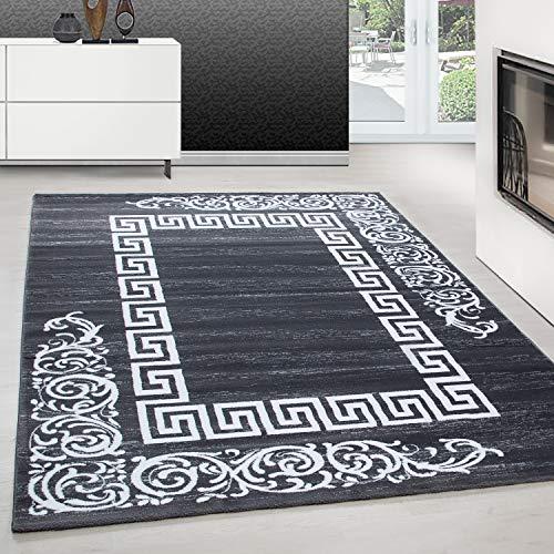 Teppiche modern Design Rechteckig Kurzflor Versace Muster mit Barock Grau, Maße:200 cm x 290 cm