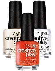CND Creative Play Orange You Curious Nr. 421 13,5 ml mit Creative Play Base Coat 13,5 ml und Top Coat 13,5 ml, 1er Pack (1 x 0.041 l)