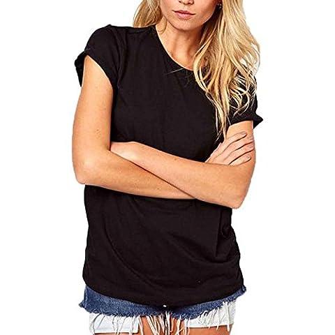 SODIAL(R) Fashion Women Summer T-Shirt Lazer Cut Angel Wings Short Sleeve Tops Black XL