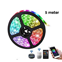 Smart WIFI LED Strip Light TV Backlight RGB Rope Light APP Remote and Voice Control Waterproof Work with Alexa Google for Indoor Outdoor Bedroom Decoration (5m,USB)