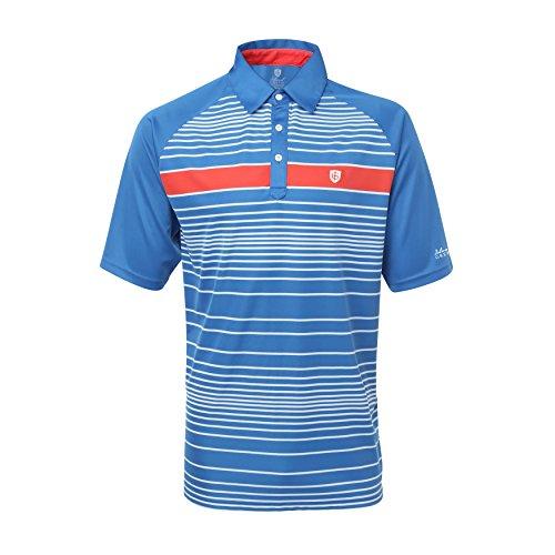 Hochwertiges Herren Polo Shirt Marke ISLAND GREEN 1462 Marine, Streifen Polo, Raglan Ärmel, 3er Knopfleiste, Poloshirt mit LOGO Kragensteg sportlich atmungsaktiv extra Dry Gr. 54 (1-streifen-polo)