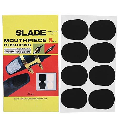 Dilwe 8 Stücke Mundstück Kissen, 0,8mm / 0,3mm / 0,5mm Gummi Saxophon Sax Klarinette Mundstück Patches Pads Kissen (Schwarz)(0,5 mm / 0,02 Zoll)