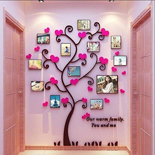 Acrylwandstickers Fotorahmen Herzen Pink Wanddekor in 3D Wandbilder Neu