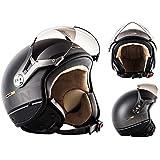 SOXON SP-325-PLUS Titanium Ace · Bobber Moto Vintage Pilot Scooter Biker Helmet Chopper Demi-Jet Mofa Casque Jet Retro Cruiser Vespa · ✔ ECE certifiés ✔ y compris le sac de casque ✔ Gris · M (57-58cm)