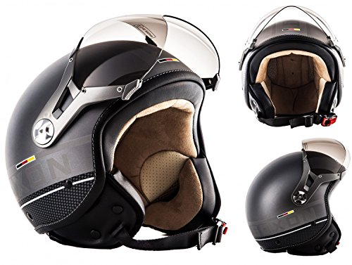 SOXON SP-325-PLUS Titanium Ace · Casco Demi-Jet Cruiser Chopper Piloto Vespa Scooter...
