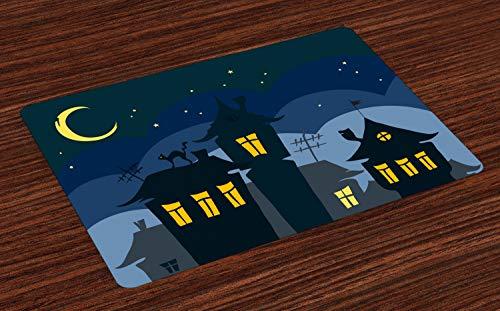 ABAKUHAUS Halloween Platzmatten, Alte Stadt mit Katze auf dem Dach-Nachthimmel-Mond und Stern unterbringt Karikatur-Kunst, Untersetzer aus Waschbaren Stoff Tischdekoration mit Druck, Gelb Schwarz Blau (Eine Halloween Alte Stadt)