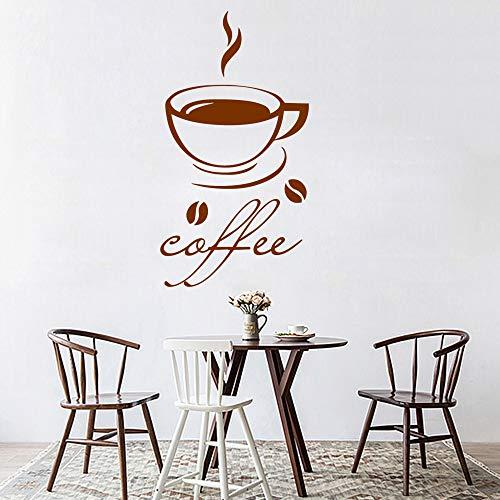fee Wandkunst Aufkleber Aufkleber PVC Material Küche Dekoration Dekorative Vinyl Aufkleber Kaffee gelb M 30 cm X 55 cm ()