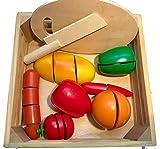 Schneidebrett, Set mit Früchten, 21-teilig, 23 x 23 cm, Schneideobst aus Holz mit Klett-Verbindung Holzspielzeug Geschenk Kinder