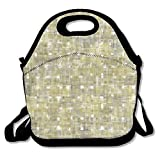VTXWL Seamless Bright Abstract Mosaic Gold Background Pattern with Gloss Awesome Lunch Tote Lunch Bag Outdoor Picnic Reusable