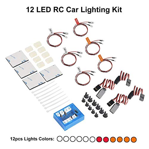 Crazepony-UK Highlight 12 LED RC Car Lighting Kit Flashing Head Light System for Car Truck Headlight Taillight Set