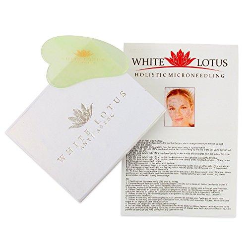 White Lotus Anti-Aging   REINES JADE GUA SHA   in traditionell Seide-gefütterter Box   Individuell handgeschnitzte Kratz-Tafel   Ultimative wohltuende Fernost Massage-Hilfe   TCM