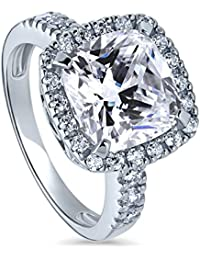 BERRICLE Rhodium Plated Sterling Silver Cushion Cut Cubic Zirconia CZ Halo Engagement Ring 6.12 CTW
