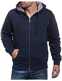 Deeluxe 74 - Gilet zippé fourré homme à capuche bleu navy