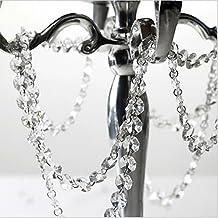 Musuntas - Tiras de cristales octogonales acrílicos transparentes de 14 mm, tiras de 5m para colgar, decoración de boda, de Navidad, guirnalda
