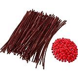 200 Pezzi Pom Pom Rosso Pompon Soffice e 100 Pezzi Steli di Ciniglia Marrone Pulitori per Tubi per Artigianato di Natale Fai da Te