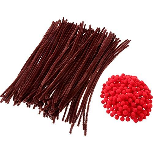 Sumind 200 Stück Rot Pom Poms Flauschige Pompons und 100 Stück Braun Pfeifenreiniger Chenille Vorbauten für Weihnachten Handwerk DIY Herstellung