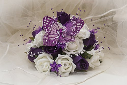 wedding-flowers-small-table-centrepiece-large-caketopper-in-cadburys-purple-and-ivory