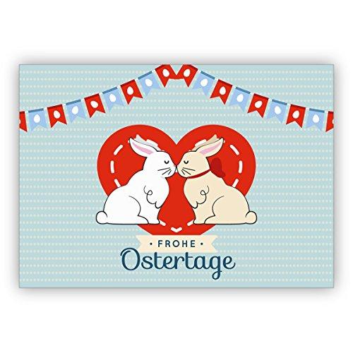 5er Grußkarten Set: Süße Osterkarte zum Osterfest mit küssenden Osterhasen: Frohe Ostertage