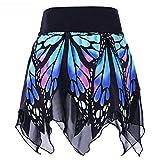 Lazzboy Frauen-Schmetterlings-Art- und Weisemädchen-reizvolle hohe Taillen-Uniform faltete Rock(XL,Blau)