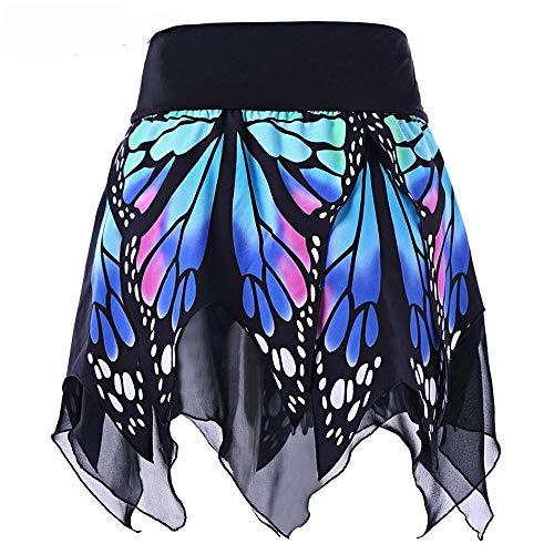 (Lazzboy Frauen-Schmetterlings-Art- und Weisemädchen-reizvolle hohe Taillen-Uniform faltete Rock(M,Blau))